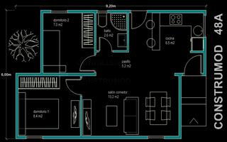 Vivienda prefabricada casa moderna 48 m2 modelo a for Casa moderna 60 m2