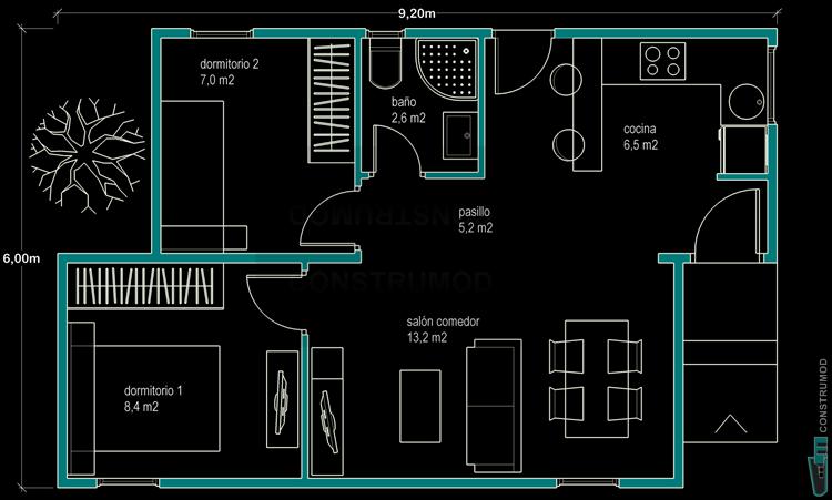 Construmod plano casa moderna 48m2 a for Casa moderna 60 m2