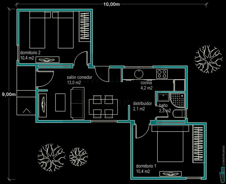 Construmod plano casa moderna 48m2b for Casa moderna de 50 m2