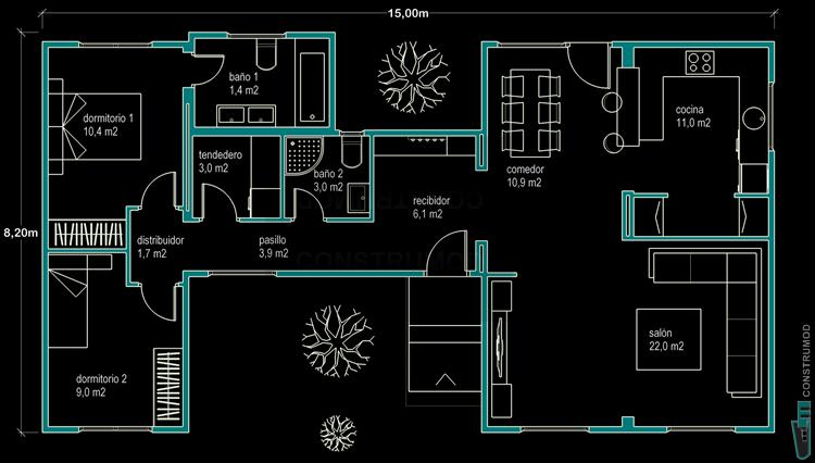 Construmod plano casa moderna 96m2 b