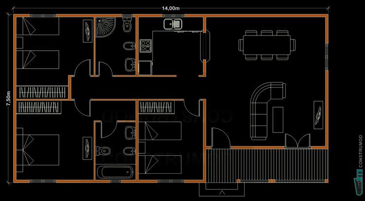 PLANO CASA DE MADERA 105 m2 modelo B