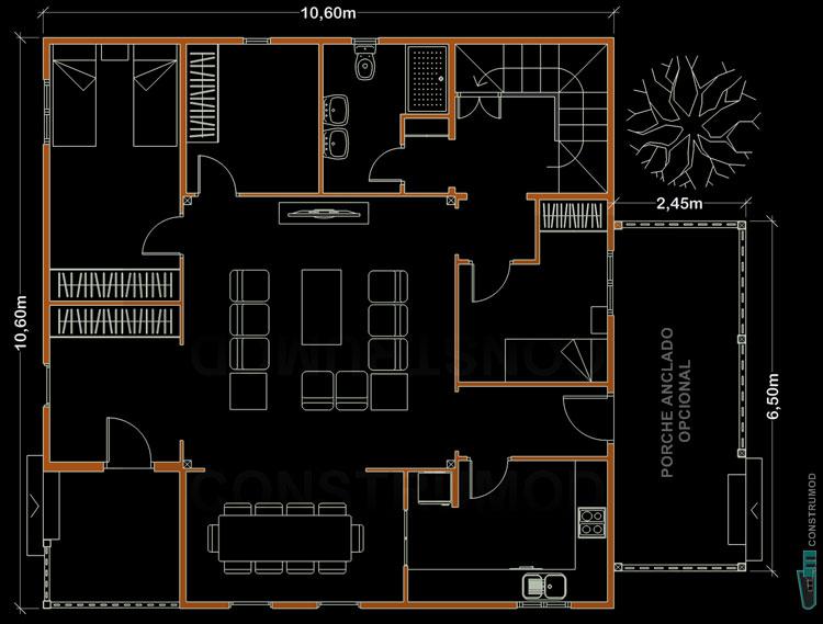Plano casa 168 for Planos de casas de madera de una planta