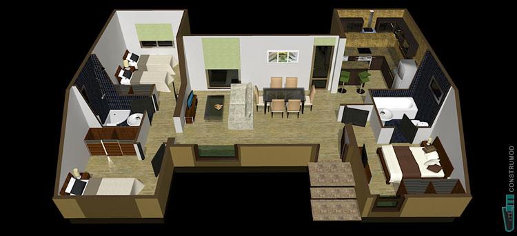 Construmod plano casa moderna 72m2 b for Casa moderna 60 m2