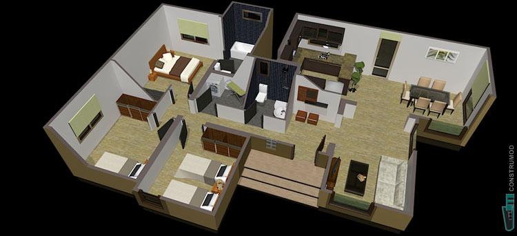 Construmod plano casa moderna 96m2 a for Casa moderna numero 2