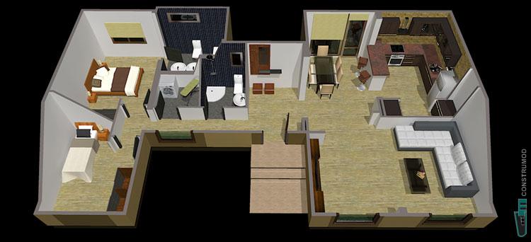 Construmod plano casa moderna 96m2 b for Planos de residencias modernas